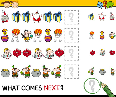 brain teaser: Cartoon Illustration of Completing the Pattern Educational Game for Preschool Children Illustration