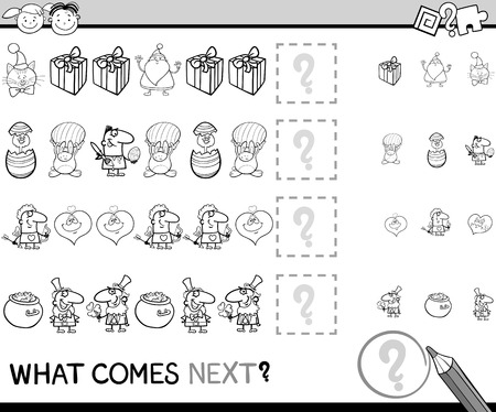 completing: Cartoon Illustration of Completing the Pattern Educational Game for Preschool Children Illustration