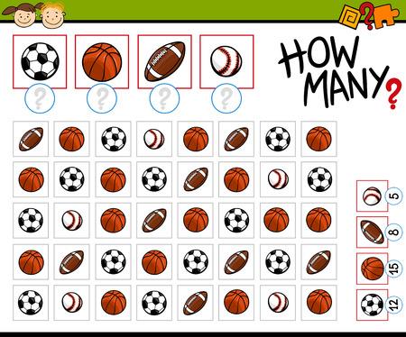 Cartoon Illustration of Education Counting Game for Preschool Children  イラスト・ベクター素材