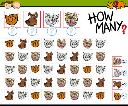 numbering: Cartoon Illustration of Education Counting Game for Preschool Children Illustration