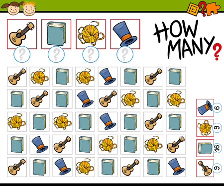 Cartoon Illustration of Education Counting Game for Preschool Children Vectores