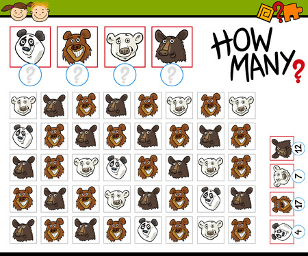 cartoon bear: Cartoon Illustration of Education Counting Game for Preschool Children Illustration