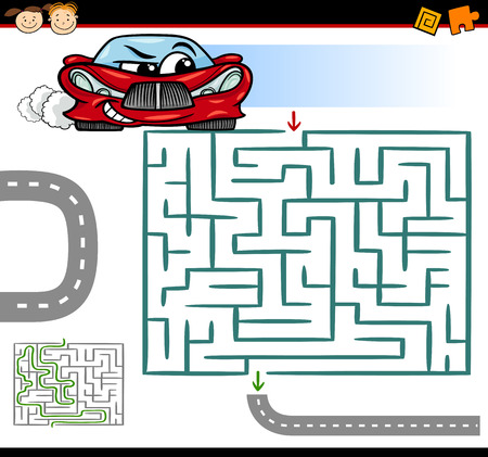 Cartoon Illustration of Education Maze or Labyrinth Game for Preschool Children with Funny Car Vector