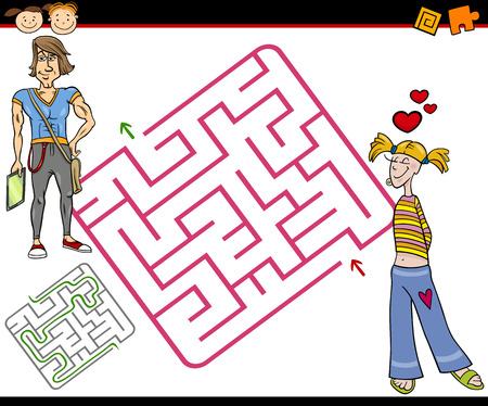 brain teaser: Cartoon Illustration of Education Maze or Labyrinth Game for Preschool Children with Teenagers in Love