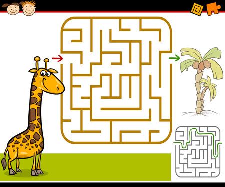 laberinto: Ejemplo de la historieta de Maze Educación o Laberinto Juego para niños en edad preescolar con Jirafa divertida y palmera
