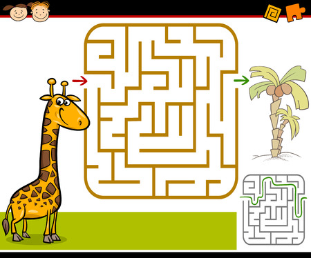 Cartoon Illustration of Education Maze or Labyrinth Game for Preschool Children with Funny Giraffe and Palm Tree