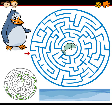 Cartoon Illustration of Education Maze or Labyrinth Game for Preschool Children with Funny Penguin and Fish
