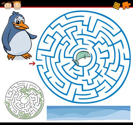 laberinto: Ejemplo de la historieta de Maze Educaci�n o Laberinto Juego para ni�os en edad preescolar con Ping�ino divertido y Pesca