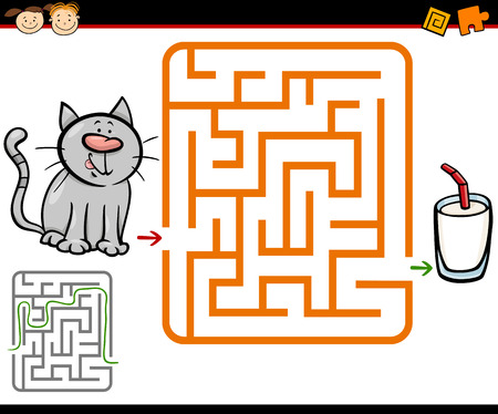 Cartoon Illustration of Education Maze or Labyrinth Game for Preschool Children with Cute Cat and Glass of Milk