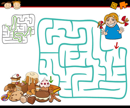 preschool: Cartoon Illustration of Education Maze or Labyrinth Game for Preschool Children with Cute Girl and Sweets