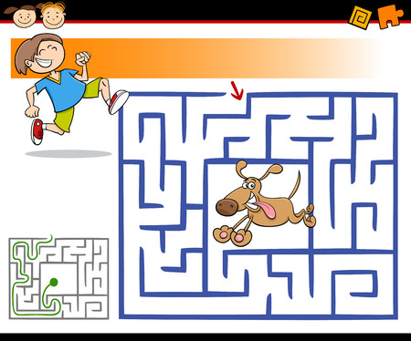 puppy cartoon: Cartoon Illustration of Education Maze or Labyrinth Game for Preschool Children with Cute Boy and Dog Illustration