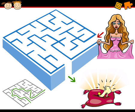 preliminary: Cartoon Illustration of Education Maze or Labyrinth Game for Preschool Children with Princess or Cinderella with Shoe Illustration