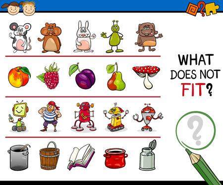 Cartoon Illustration of Finding Improper Item Educational Game for Preschool Children Illustration