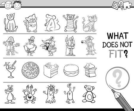 improper: Cartoon Illustration of Finding Improper Item Educational Game for Preschool Children Illustration
