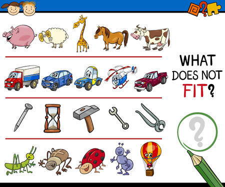 Cartoon Illustration of Finding Improper Item Educational Game for Preschool Children  イラスト・ベクター素材