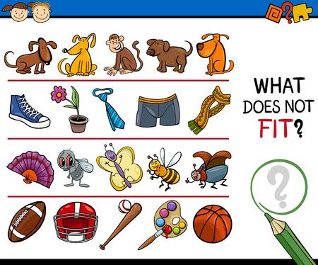 Cartoon Illustration of Finding Improper Item Educational Game for Preschool Children Vettoriali