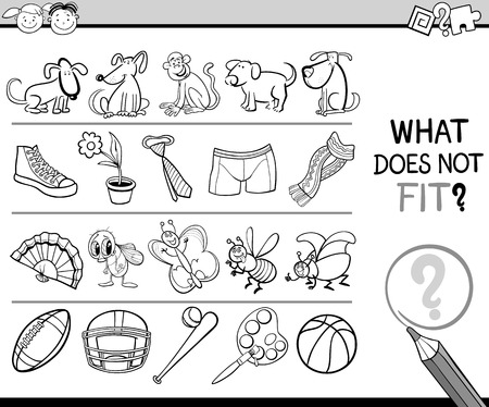 inadequate: Cartoon Illustration of Finding Improper Item Educational Game for Preschool Children Illustration