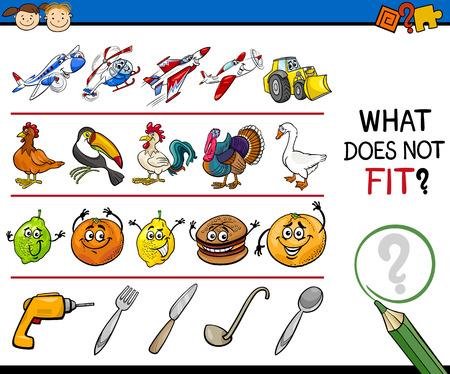 Cartoon Illustration of Finding Improper Item Educational Game for Preschool Children 向量圖像