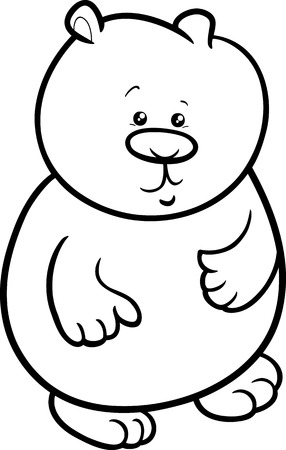 baby bear: Black and White Cartoon Illustration of Cute Baby Bear Wild Animal for Coloring Book