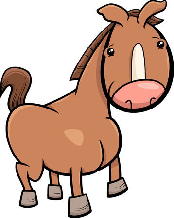 foal: Cartoon Illustration of Cute Baby Horse or Foal Farm Animal Illustration