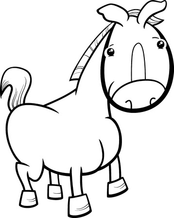 foal: Black and White Cartoon Illustration of Cute Baby Horse or Foal Farm Animal for Coloring Book