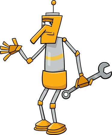 Cartoon Illustration of Funny Fantasy Robot Character with Wrench Vector