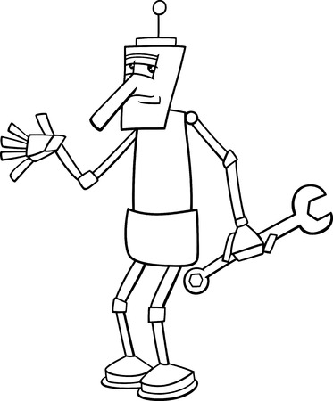 Black and White Cartoon Illustration of Funny Fantasy Robot Character with Wrench for Coloring Book Vector