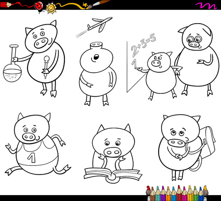 math cartoon: Coloring Book Cartoon Illustration of Piglet Animal Character School Student Set