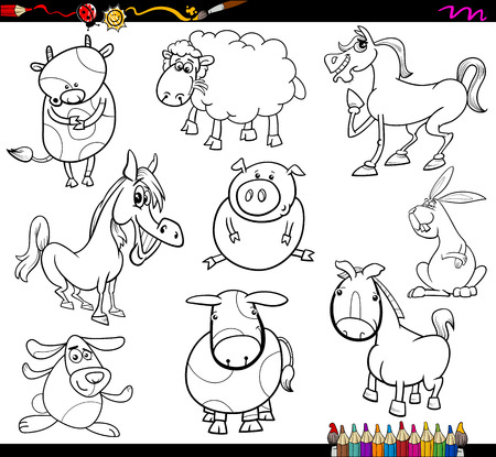 funny farm: Coloring Book Cartoon Illustration Set of Funny Farm Animals Characters