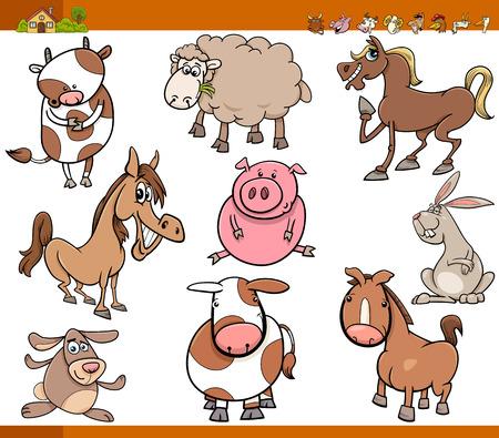 farm animals: Cartoon Illustration Set of Funny Farm Animals Characters