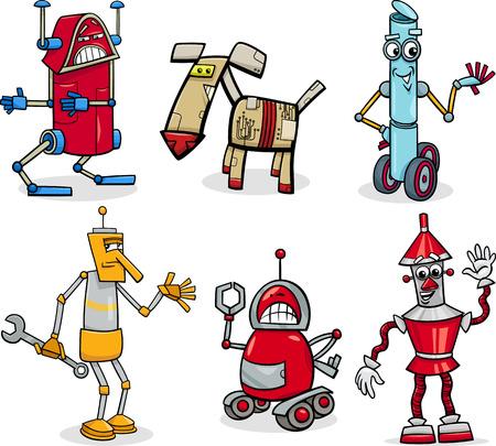 Cartoon Illustration of Funny Robots or Droids Fantasy Set Vector