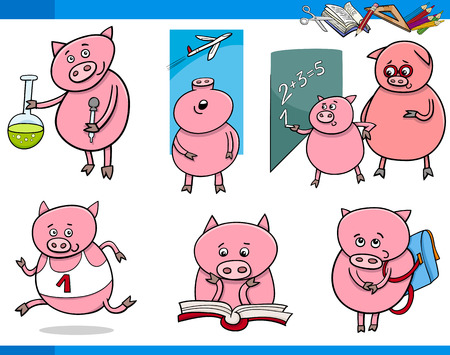 Cartoon Illustration of Piglet Animal Character School Student Set Vector