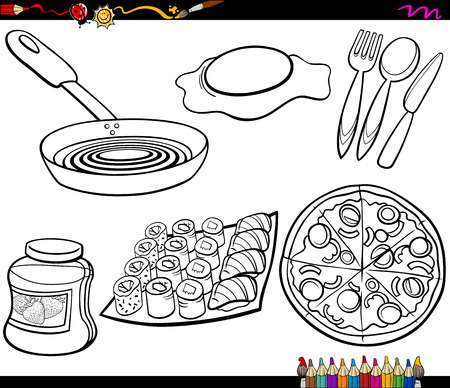 Coloring Book Cartoon Illustration of Kitchen and Food Objects Clip Arts Set Vector