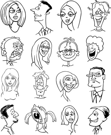 black people: Black and White Cartoon Illustration of People Characters Faces Set