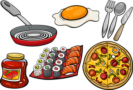 Cartoon Illustration of Kitchen and Food Objects Clip Arts Set Vector