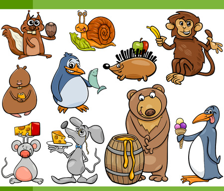 Cartoon Illustration Set of Funny Animals with their Favorite Food Vector