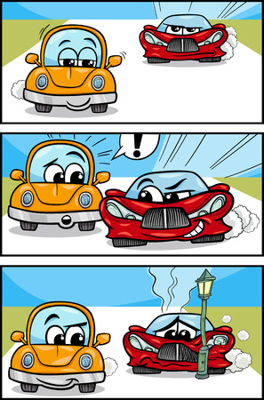 comics car: Cartoon Illustration of Cars on the Road Comic Story