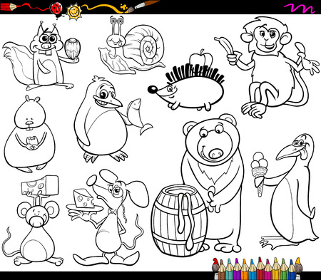Coloring Book Cartoon Illustration Set of Funny Animals with their Favorite Food Vector