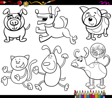 chasing tail: Coloring Book Cartoon Illustration Set of Cartoon Illustration of Dogs Animal Characters