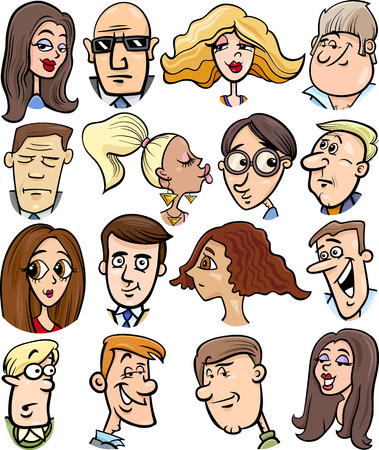 Cartoon Illustration of People Characters Faces Set