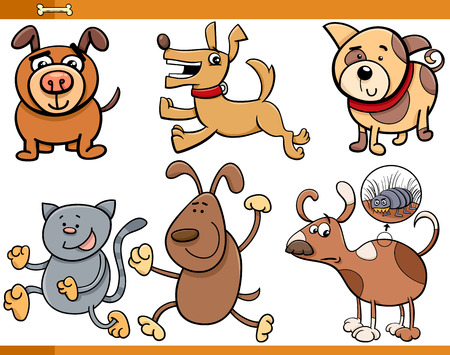 chasing tail: Cartoon Illustration of Dogs Animal Characters Set