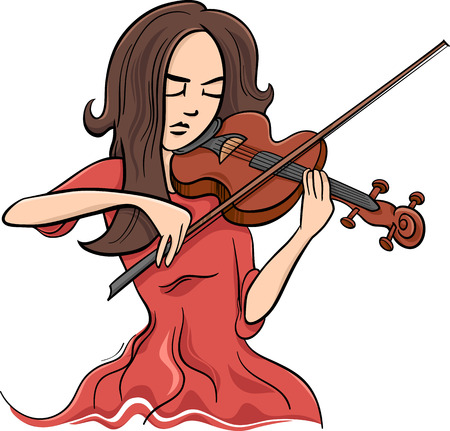 Cartoon Illustration of Violinist Woman or Beautiful Girl Playing the Violin Instrument Illustration