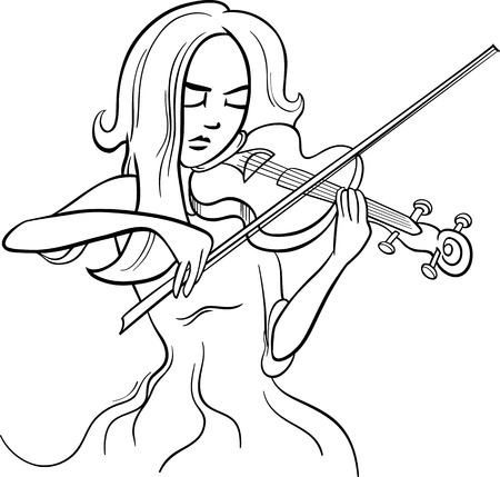 virtuoso: Black and White Cartoon Illustration of Violinist Woman or Beautiful Girl Playing the Violin Instrument