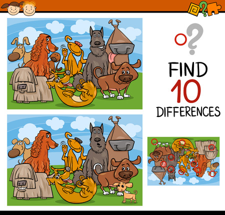Cartoon Illustration of Finding Differences Educational Game for Preschool Children Vector