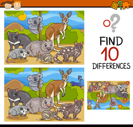 Cartoon Illustration of Finding Differences Educational Game for Preschool Children Zdjęcie Seryjne - 39282985