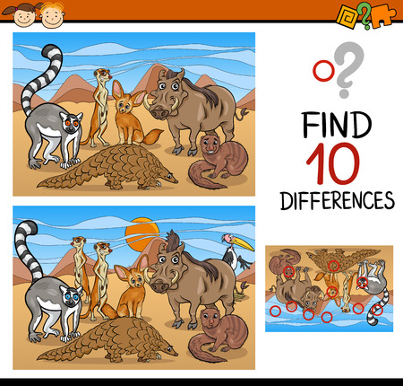 spot the difference: Cartoon Illustration of Finding Differences Educational Game for Preschool Children
