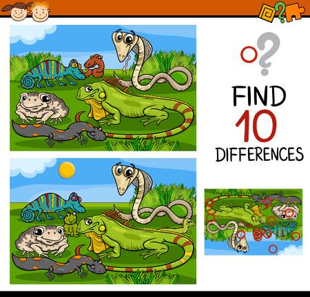 Cartoon Illustratie van Zoek de Verschillen Educatief spel voor kleuters Stockfoto - 39283058