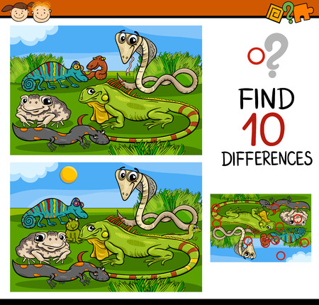 finding: Cartoon Illustration of Finding Differences Educational Game for Preschool Children
