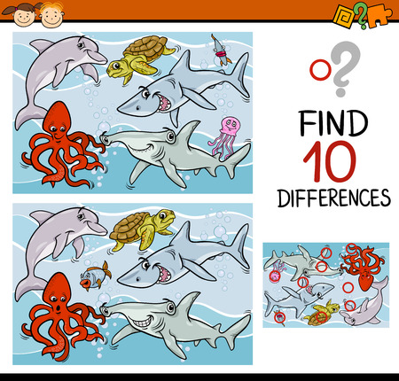 brain teaser: Cartoon Illustration of Finding Differences Educational Game for Preschool Children