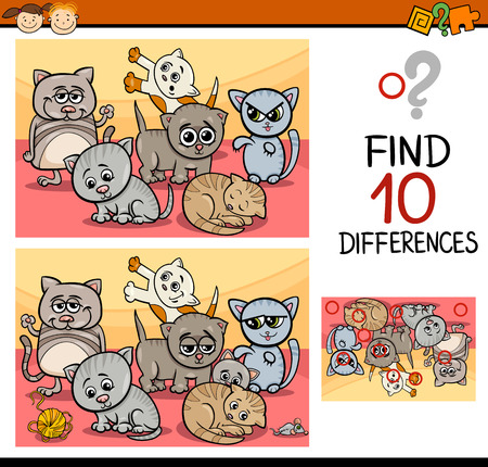 cartoon animal: Cartoon Illustration of Finding Differences Educational Game for Preschool Children